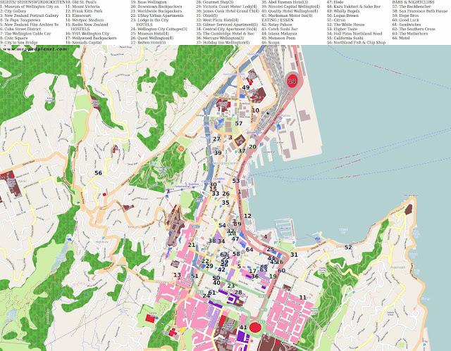 mapa dos hotéis de Wellington - Nova Zelândia