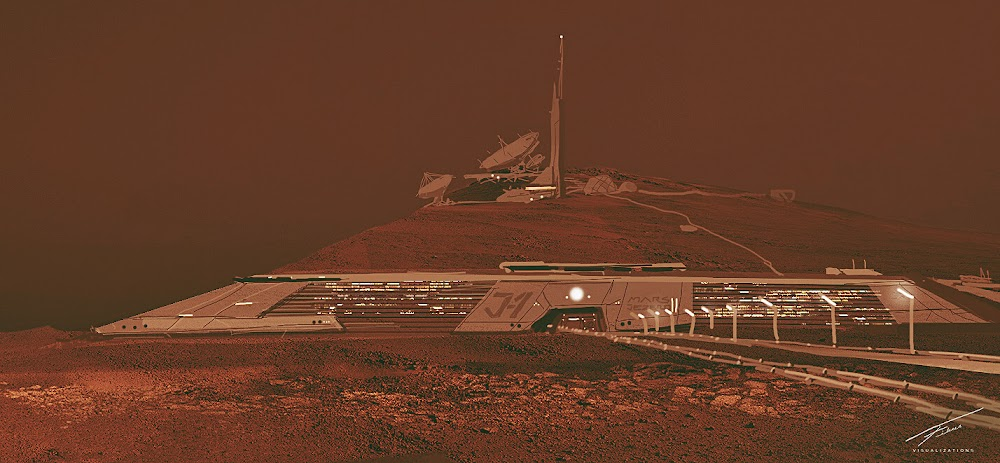 Mars colony sketch by Space is More & Project Scorpio for Mars Colony Prize competition by The Mars Society