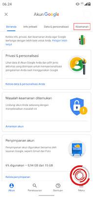 1. Untuk mengatur alamat email pemulihan silakan kalian akses halaman Akun Google lalu pilih menu Keamanan