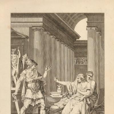 """Η Ιοκάστη κατηγορεί τον Ετεοκλή. Velyn, Philippus, 1801-5, χαλκογραφία για τη """"Θηβαΐδα"""", από την εικονογραφημένη έκδοση """"Άπαντα του Ρακίνα"""". Η Ιοκάστη καθισμένη σε θρόνο κατηγορεί τον Ετεοκλή που έχει έρθει από το πεδίο της μάχης, όπου πολεμά εναντίον του αδερφού του Πολυνείκη. Στα πόδια της Ιοκάστης είναι γονατισμένη η Αντιγόνη. Πίσω από την Ιοκάστη βρίσκεται η ακόλουθός της Ολυμπία που προσπαθεί να τη συγκρατήσει αγκαλιάζοντάς την. Λονδίνο, Βρετανικό Μουσείο, 2011,7059.30 © Trustees of the British Museum"""