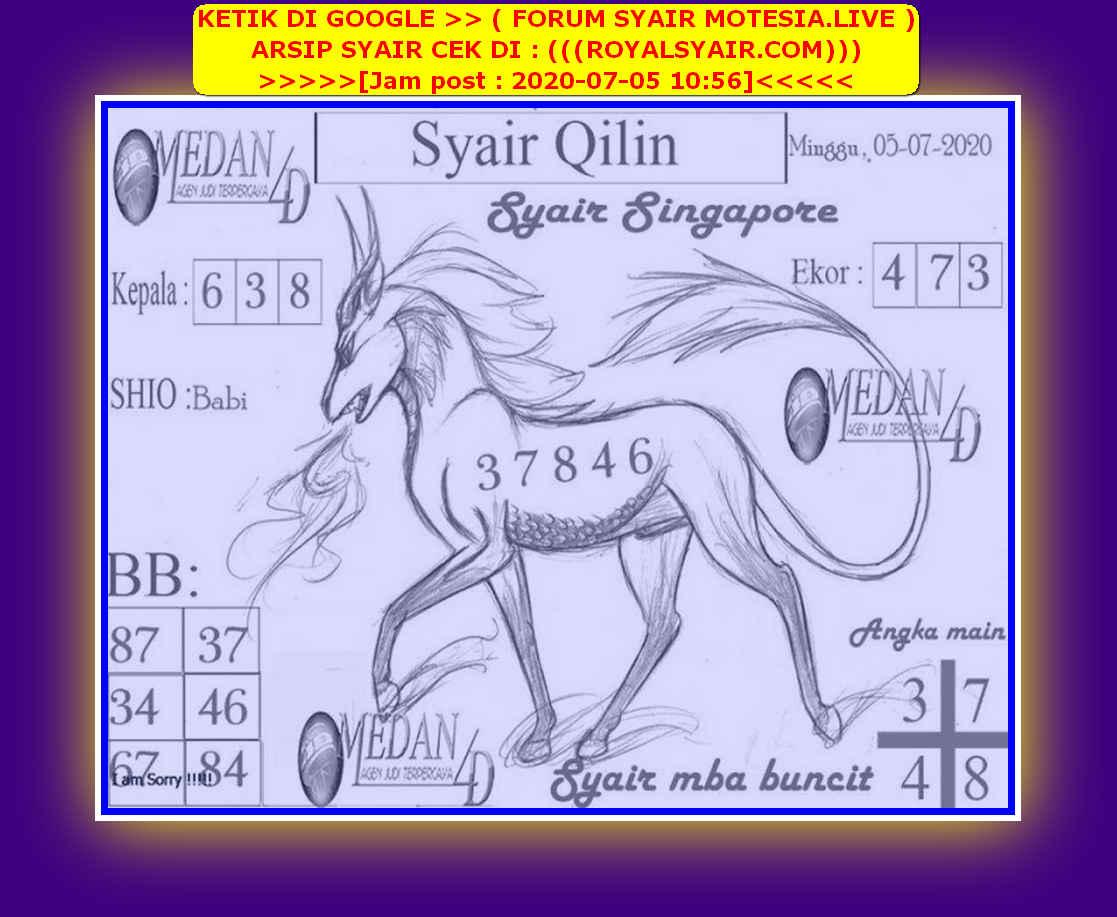 Kode syair Singapore Minggu 5 Juli 2020 99