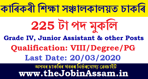 DTE, Assam Recruitment 2020: Apply Online for 225 Posts