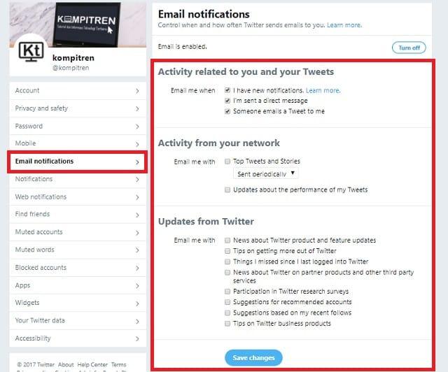 Cara Berhenti mendapatkan Email Pemberitahuan dari Twitter 3