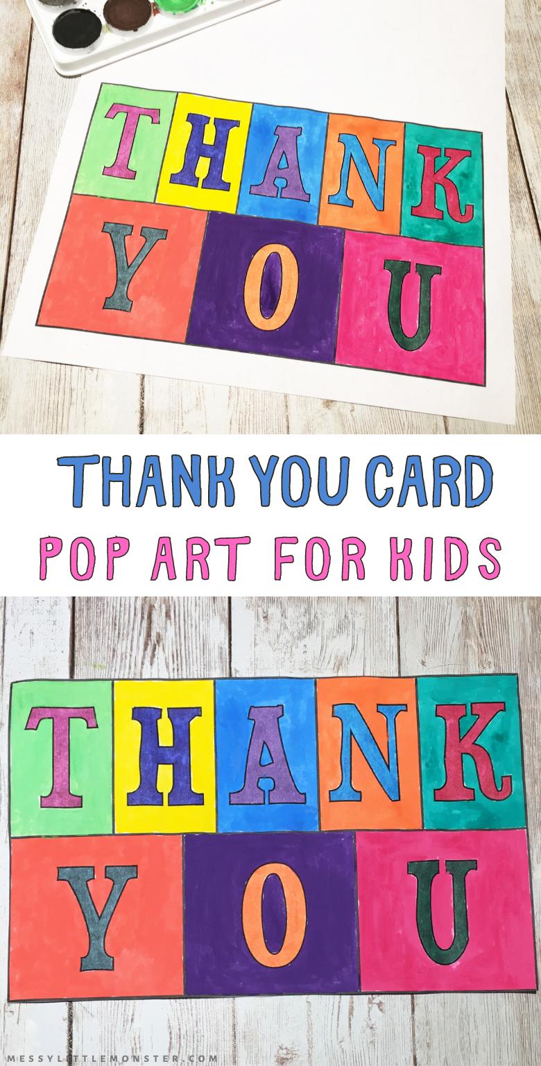 Homemade thank you card. Pop art for kids. Printable thank you card template for kids to make.