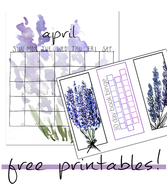 printable, free printables,lavender sketches, lavender doodles, free bookmarks, free reading trackers, free calendar, april 2019, 30 Day Book Binge
