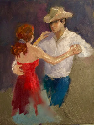 Cowboy dancing with woman in red dress while looking at her with small smile