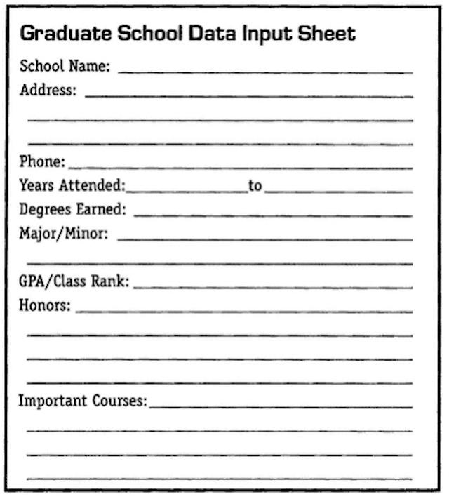 Graduate School Data Input Sheet