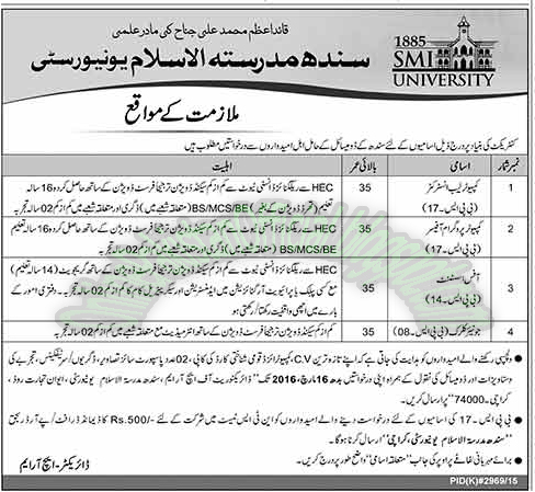 Sindh Madrasatul Islam University jobs in karachi