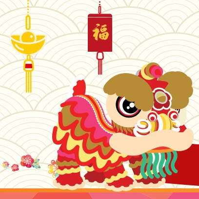 Welcome Chinese Lion Dance Easy Drawing With Colour