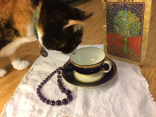 Cat sniffs the teacup on the white napkin near the necklace and Christmas card.