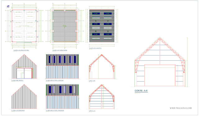 Industrial shed of metal structure DWG
