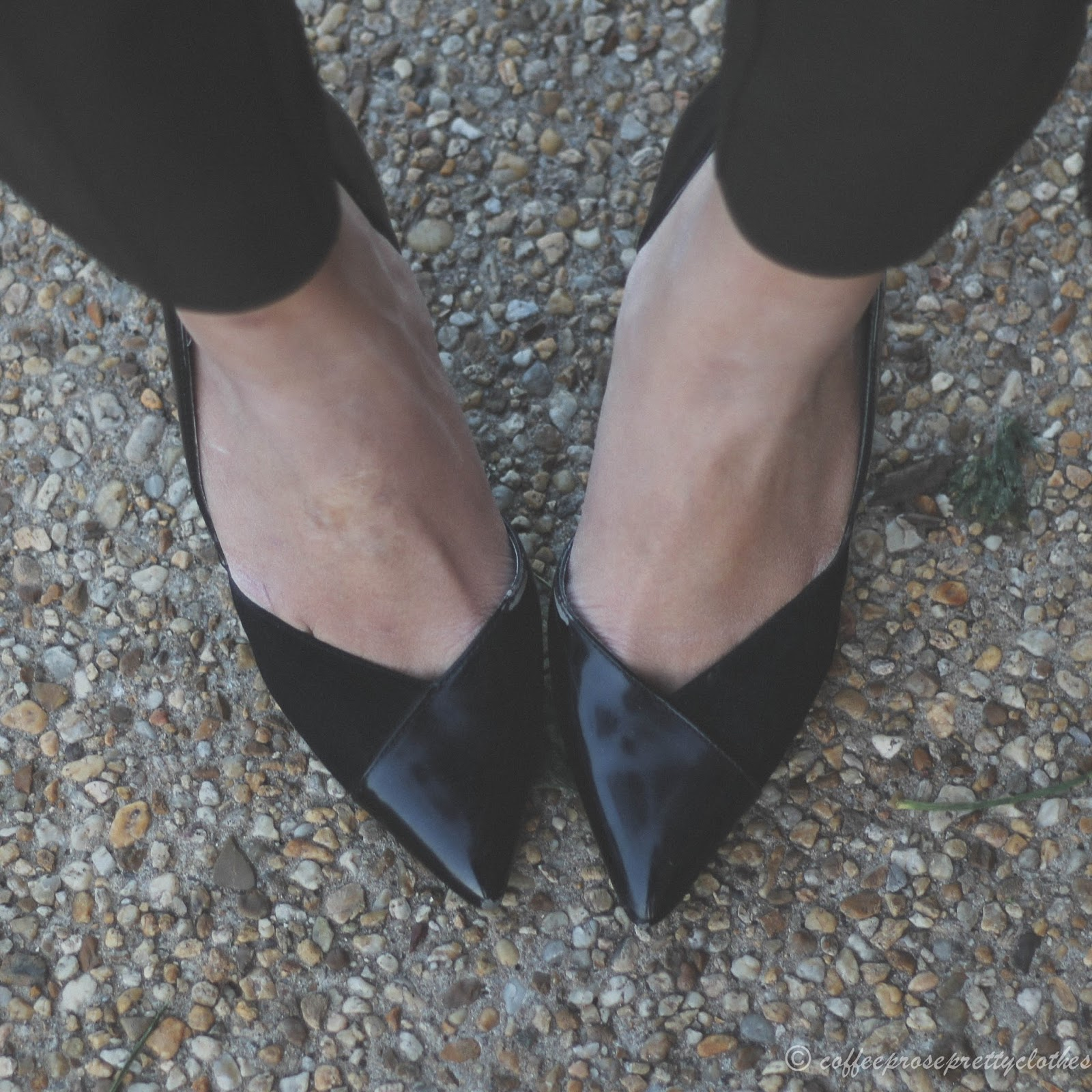 Zara heels, mixed media shoes, suede and leather d'orsay pumps