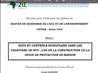 PFE contrôle budgétaire chantiers BTP