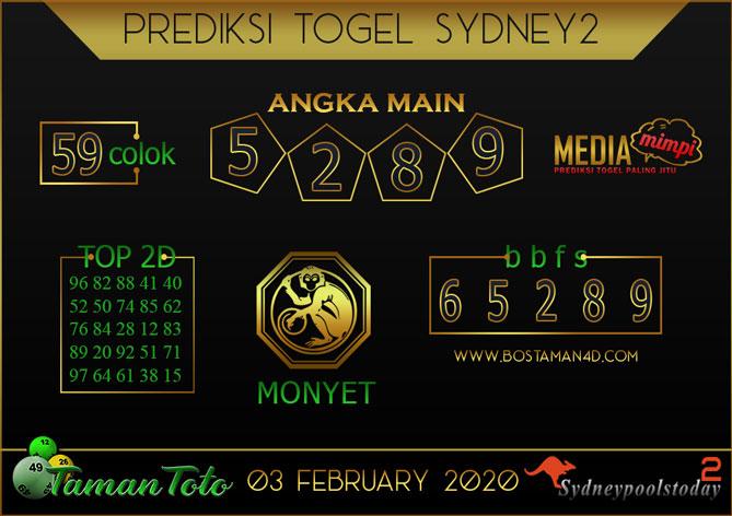 Prediksi Togel SYDNEY 2 TAMAN TOTO 03 FEBRUARY 2020
