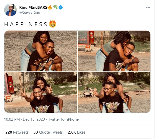 #EndSARS Convener, Savvy Rinu Shares Lovely Photos With Her Boyfriend