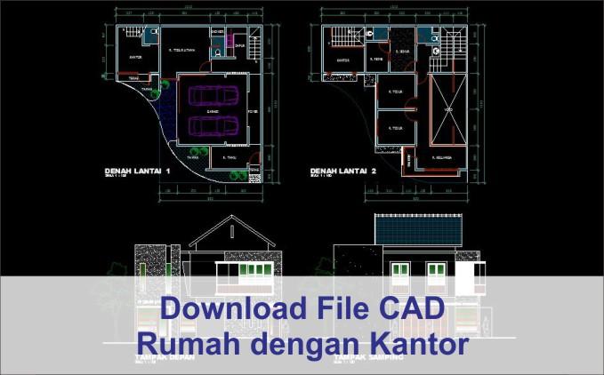 download rumah dengan kantor file dwg autocad
