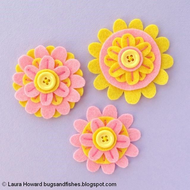 Felt Flower Brooches Tutorial: add a button to each flower