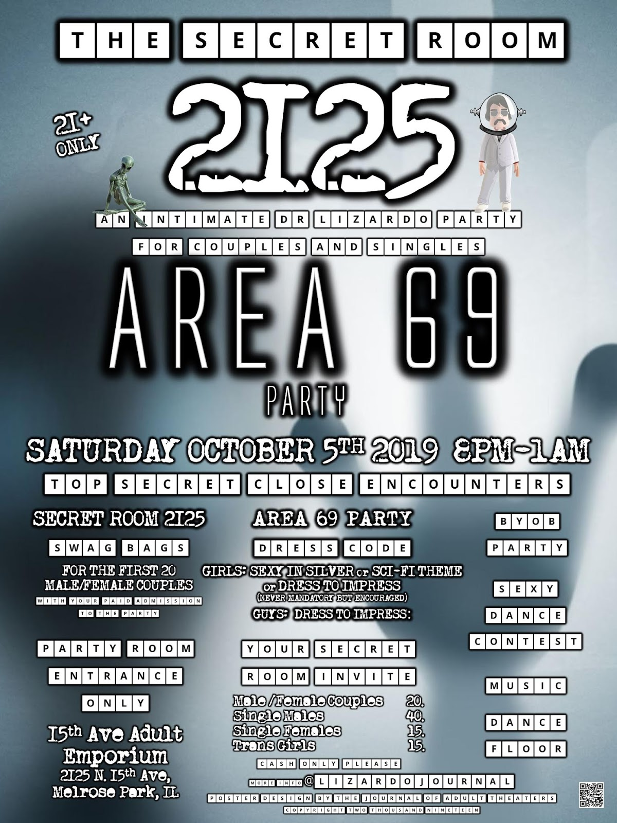 Secret Room 2125: Area 69 Party at 15th Ave.Adult Theater Party Room in Chicago...
