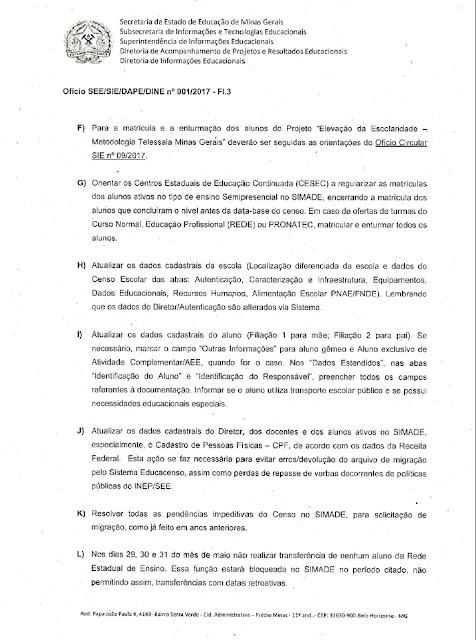 Atualização dos dados no SIMADE para coleta Censo Escolar 2017