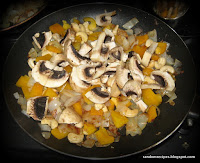 cooking the pilaf - adding mushrooms after the initial frying of onions etc