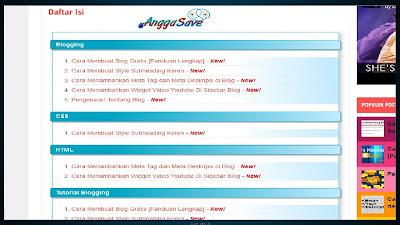 Cara Membuat Daftar Isi/Sitemap Blog Otomatis