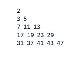 C program prime number triangle pattern