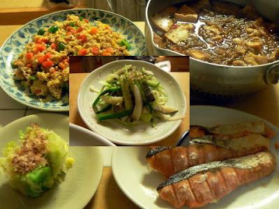夕食の献立 献立レシピ 飽きない献立  鮭 キャベツおひたし 豚バラ玉野菜炒め 五目煮込み+肴