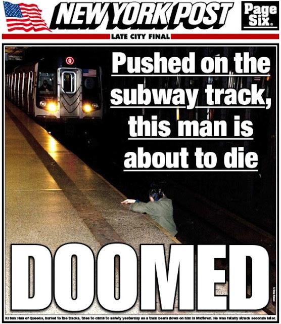 La copertina del New York Post, con la foto dell'uomo che sta per essere travolto dalla metropolitana