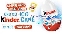 """Concorso """"Kinder Game"""" : vinci 2500 Grande Uovo ( 100 ogni giorno) con kit per 12 giochi"""