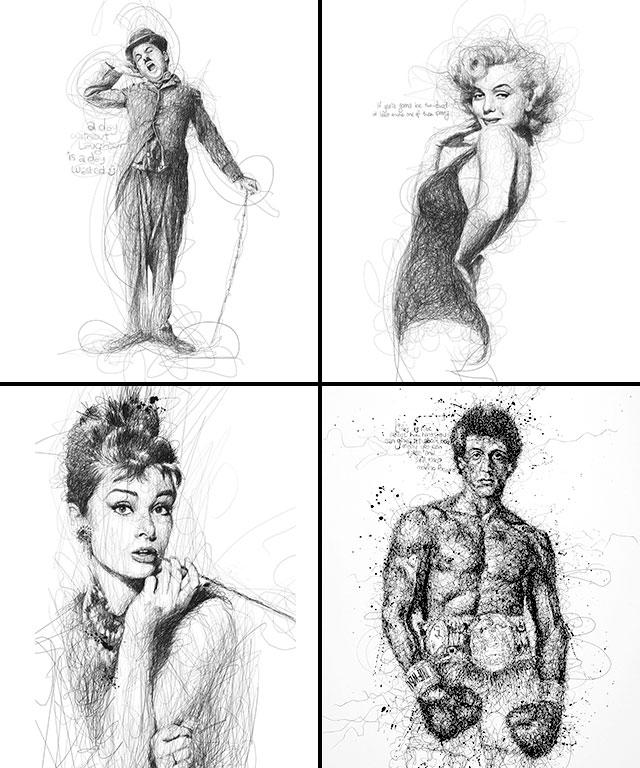 Vince Low, La Dislexia y El Arte del Garabato Charles Chaplin Marilyn Monroe Audrey Hepburn Sylvester Stallone Rocky