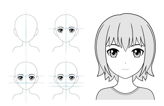 Contoh gambar gadis anime ekspresi normal