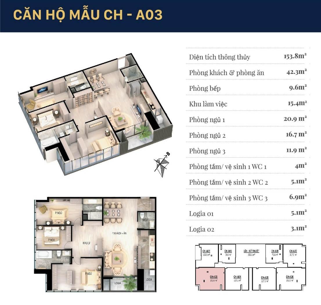 Chi tiết căn hộ 03 Grandeur Palace Giảng Võ