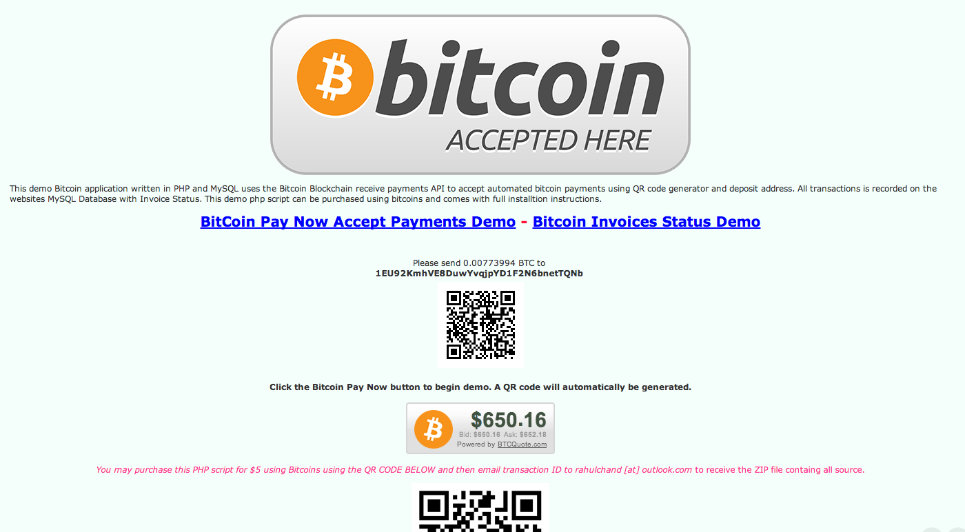 Rahul Chand: Bitcoin QR Code Button - Accept Payments and