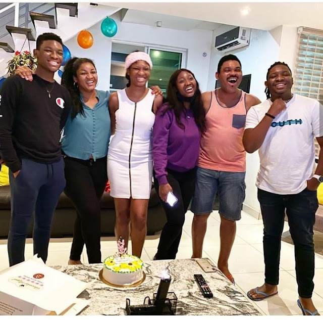 Omotola Jalade and family celebrate as her daughter returns home after completing Masters Degree (Photos)