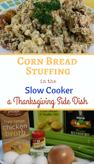 Cornbread stuffing in the crockpot slow cooker from ayearofslowcooking.com I like how you can use gluten free ingredients if you want to and you can do all the prep work a day or two before Thanksgiving so I can enjoy my guests.