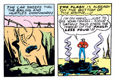 Flash Comics (1939) #1 Page 15 Panels 5 & 6: Satan, the bad guy, goes careening off the road during The Flash's pursuit. Oh well, another one bites the dust.