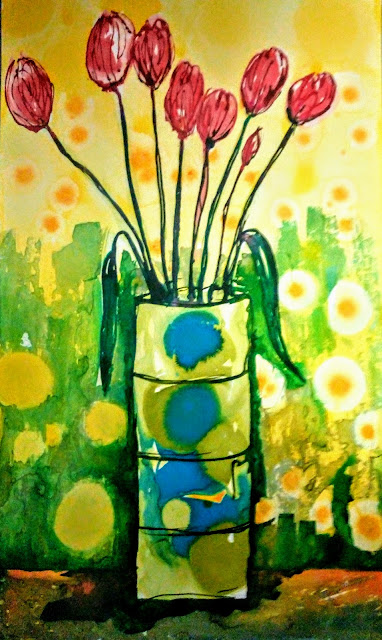 Tulips in a Pot Ink Painting by Miabo Enyadike