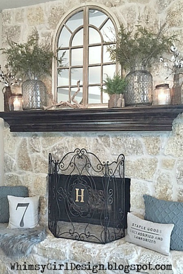 Whimsy girl our home fall snapshots - How to decorate a mantel with a mirror above it ...