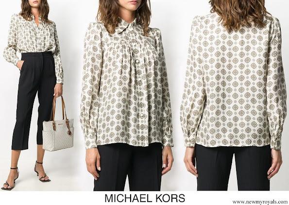 Kate Middleton wore Michael Kors Medallion silk-blend jacquard blouse