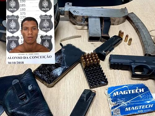 Criminoso com metralhadora morre após troca de tiros com a PM