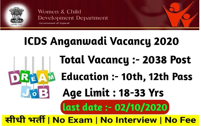 ICDS Gujarat Anganwadi Recruitment 2020-21 Apply Online