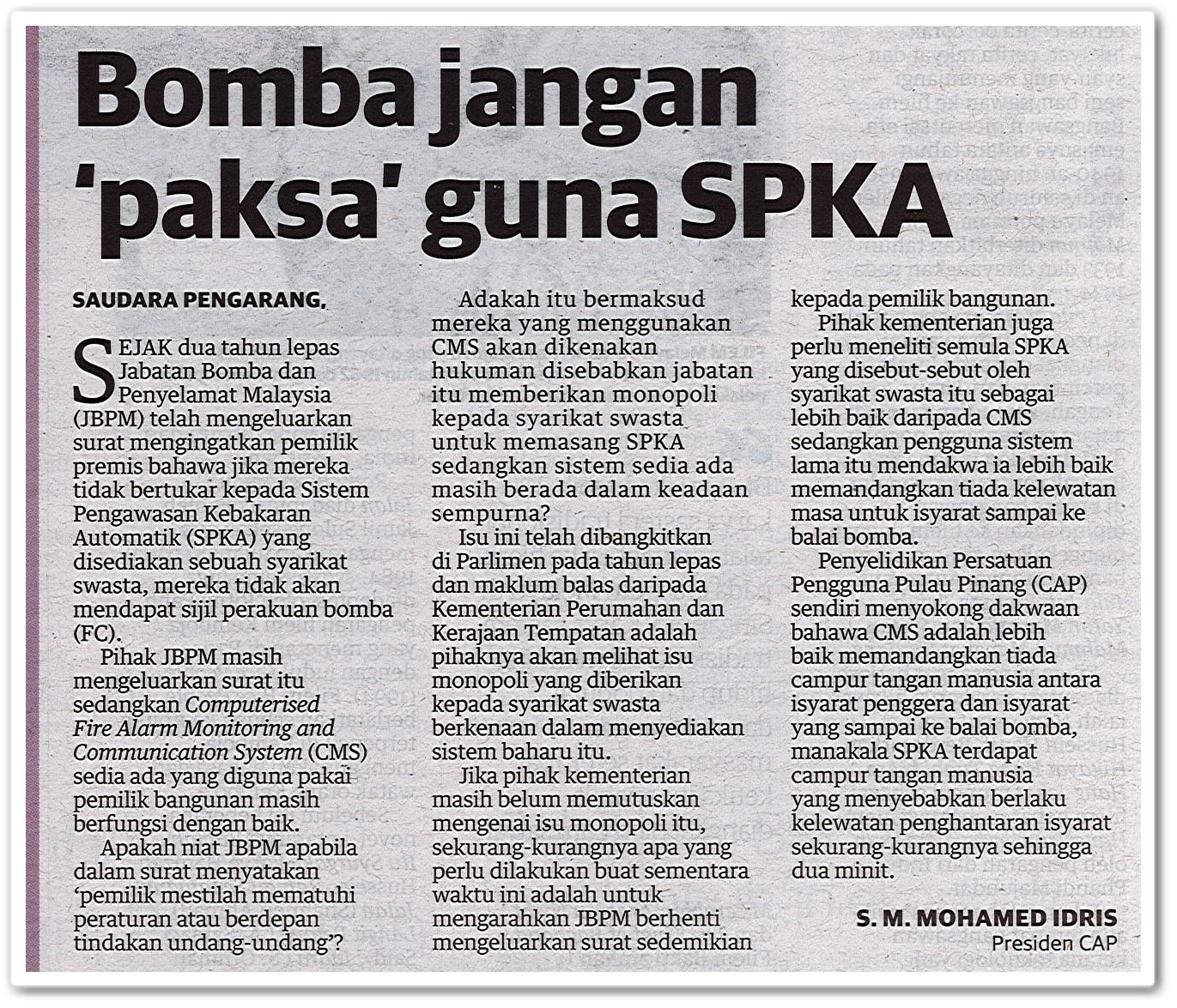 Bomba jangan 'paksa' guna SPKA - Keratan akhbar Utusan Malaysia 3 Mei 2019