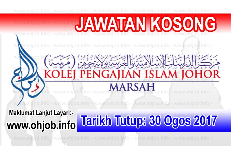 Jawatan Kerja Kosong Kolej Pengajian Islam Johor - MARSAH logo www.ohjob.info ogos 2017