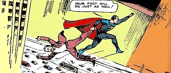 Superman in mid-leap between sketchily drawn buildings above a trafficked city street, holding a flailing fellow by the ankle