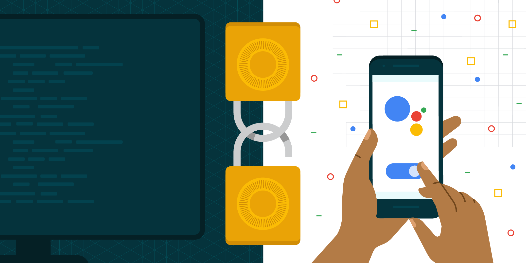 Illustration of 2 animated locks and phone with Actions on Google logo on screen