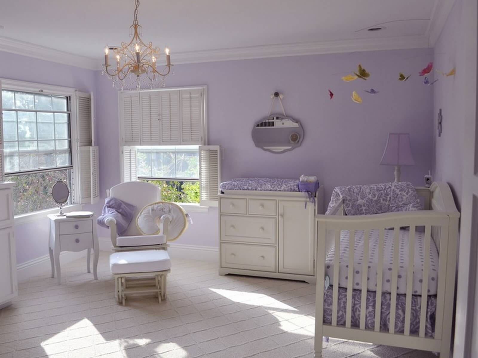 Delightful Purple Color Dominance Baby Girl Popular Nursery Bedroom Themes Cheap On A  Budget Decor