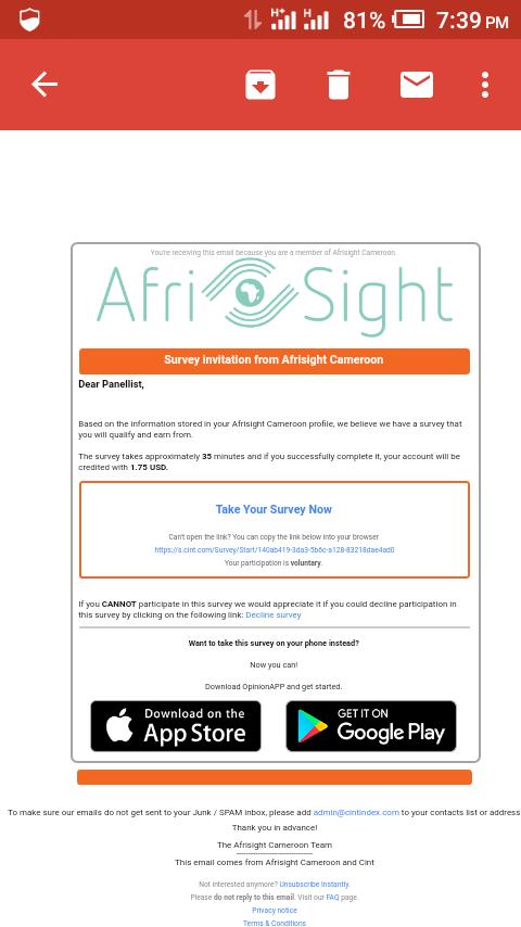 Afrisight survey screenshot
