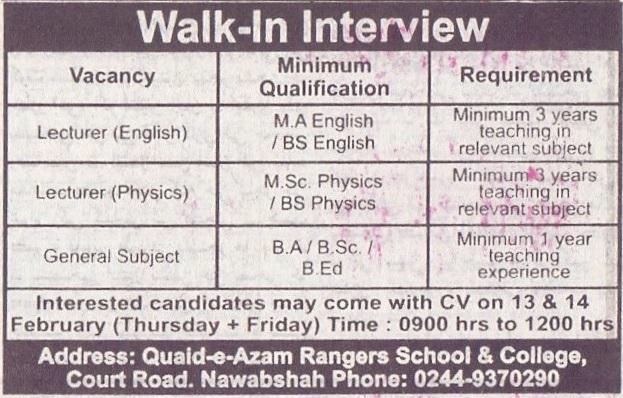 Quaid-e-Azam Rangers School & College Walk In Interviews 2020