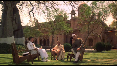 Lord Mountbatten (played by James Fox), Mahatma Gandhi (played by Sam Dastor) and Jawahalal Nehru (played by Robert Ashby) in Jinnah, Directed by Jamil Dehlavi