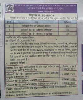 RBI Short Notice for Grade B Recruitment Notification 01/2019-20